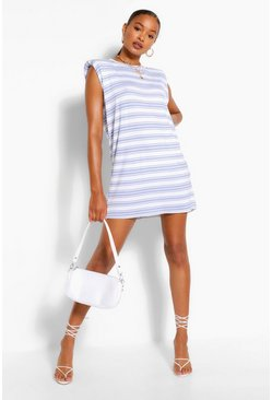 Blue Stripe Shoulder Pad T-Shirt Dress