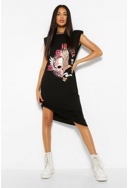 Black Band Print Shoulder Pad Midi T-Shirt Dress