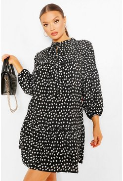 Spot Print Fill Hem Smock Dress, Black schwarz