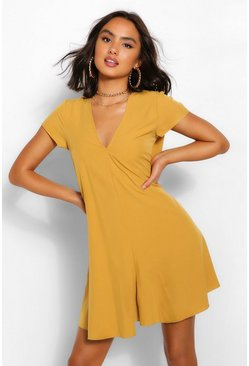 Mustard yellow Woven V Neck Shift Dress