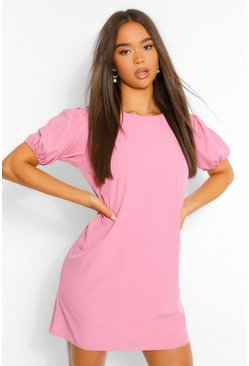Rose pink Woven Puff Sleeve Shift Dress