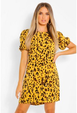 Mustard yellow Leopard Print Puff Sleeve Shift Dress