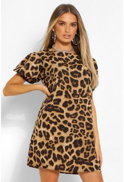 Brown Leopard Print Puff Sleeve Shift Dress