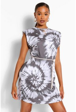 Black Padded Shoulder Tie Dye T-Shirt Dress