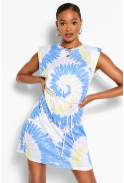 Blue Padded Shoulder Tie Dye T-Shirt Dress