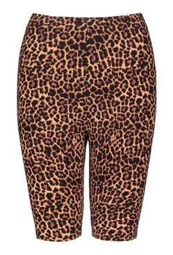 Brown Leopard Print High Rise Cycling Shorts