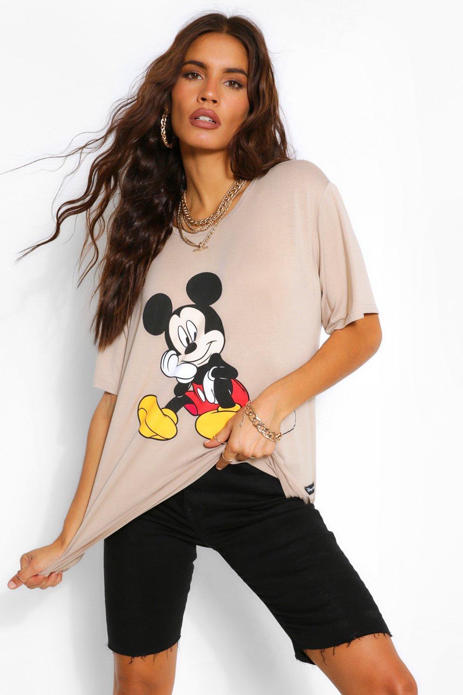 TOPS Beige Disney X Boohoo Mickey Print Tee
