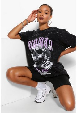 Charcoal grey ACID WASH WOMAN SKULL PRINT OVERSIZED  TSHIRT