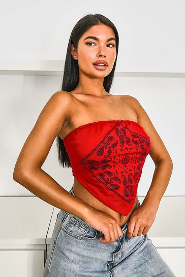 Red Bandana Bandeau Triangle Crop