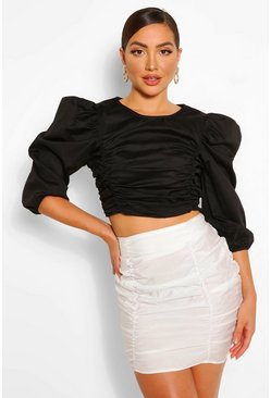Cotton ruched detail top, Black