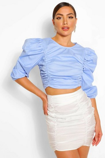 Sky Cotton ruched detail top