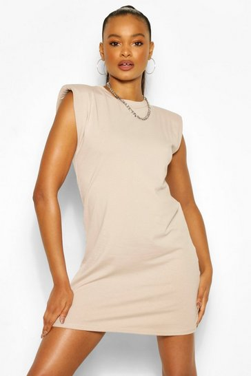 Sand beige SHOUDLER PAD T-SHIRT DRESS