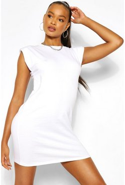 White SHOUDLER PAD T-SHIRT DRESS