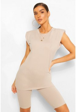 Sand beige SHOULDER PAD T-SHIRT AND CYCLING SHORT SET