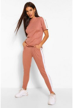 Dusky pink pink SIDE STRIPE BANDAGE BOXY T-SHIRT & SHORT SET