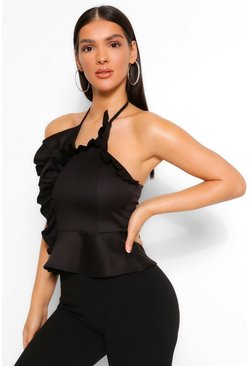 Black FRILL WRAP STRAPLESS TOP