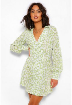 Olive green Ditsy Floral Shirt Dress