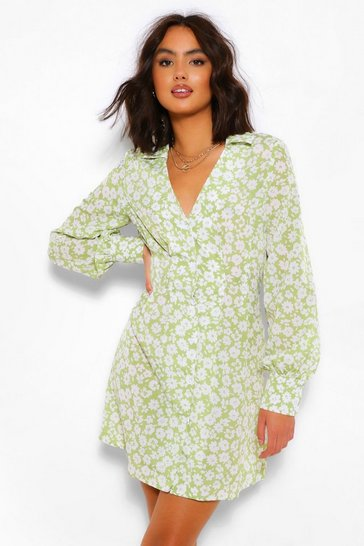 Olive Ditsy Floral Shirt Dress