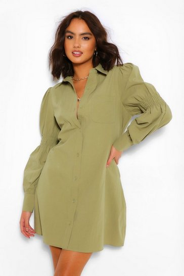 Khaki Rouched Sleeve Button Down Oversized Shirt Dress