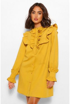 Mustard yellow Ruffle Button Down Shirt Dress