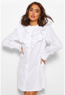 White Ruffle Button Down Shirt Dress