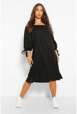 Black Off The Shoulder Tie Cuff Midi Dress