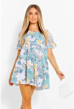 Paisley Smock Dress, Green