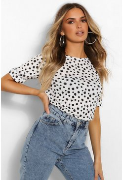 White Polka Dot Top With Frill Cuff