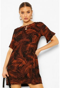 Leaf Print Smock Dress, Rust