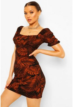 Rust orange Leaf Print Square Neck Mini Dress