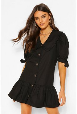 Black Oversized Collar Frill Hem Shirt Dress