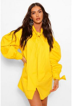 Mustard yellow Oversized Drop Shoulder Pussy Bow Shirt Dress