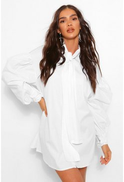 White Oversized Drop Shoulder Pussy Bow Shirt Dress