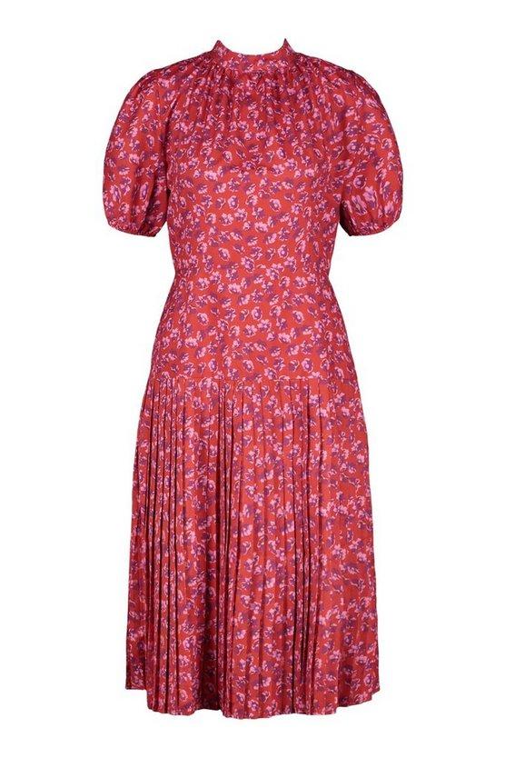 500 Vintage Style Dresses for Sale | Vintage Inspired Dresses Womens Floral Print Pleated Midi Dress - Red - 14 $25.00 AT vintagedancer.com