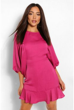 Berry Extreme Balloon Sleeve Mini Dress