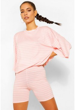Blush Striped Top & Cycling Short Co-ord Set