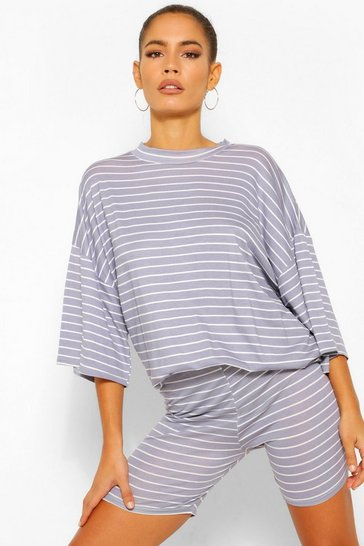 Grey Striped Top & Cycling Short Co-ord Set