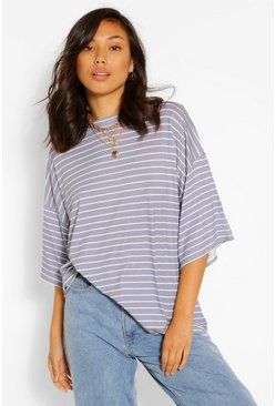 Grey Striped Short Sleeve Top