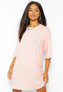 Blush pink Striped T-Shirt Dress