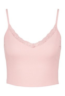 Blush Lace trim rib crop cami top