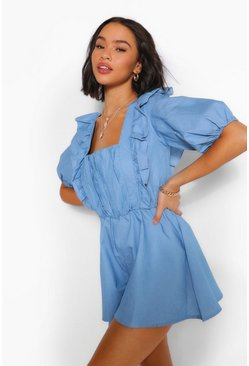 Light blue Square Neck Frill Detail Playsuit