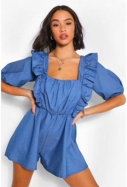 Mid blue blue Square Neck Frill Detail Playsuit