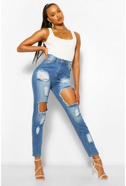 Vintage Wash Extreme Distressed Mom Jean