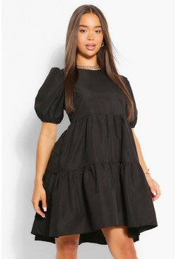 Black Oversized Puff Sleeve Smock Dress