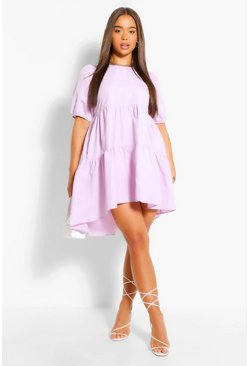 Lilac Oversized Puff Sleeve Smock Dress