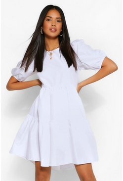 White Oversized Puff Sleeve Smock Dress