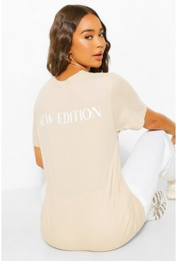 Stone beige New Edition Back Slogan t shirt