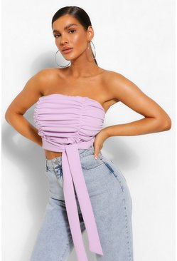 Lilac purple Ruched Tie Detail Bandeau Top