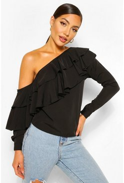 Black Ruffle One Shoulder Top