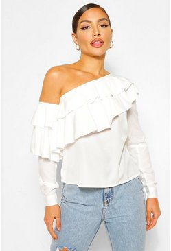 Ivory white Ruffle One Shoulder Top
